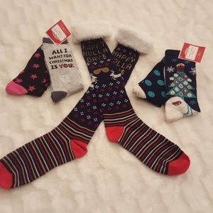 5 pairs NWT holiday sock bundle knee high with fur